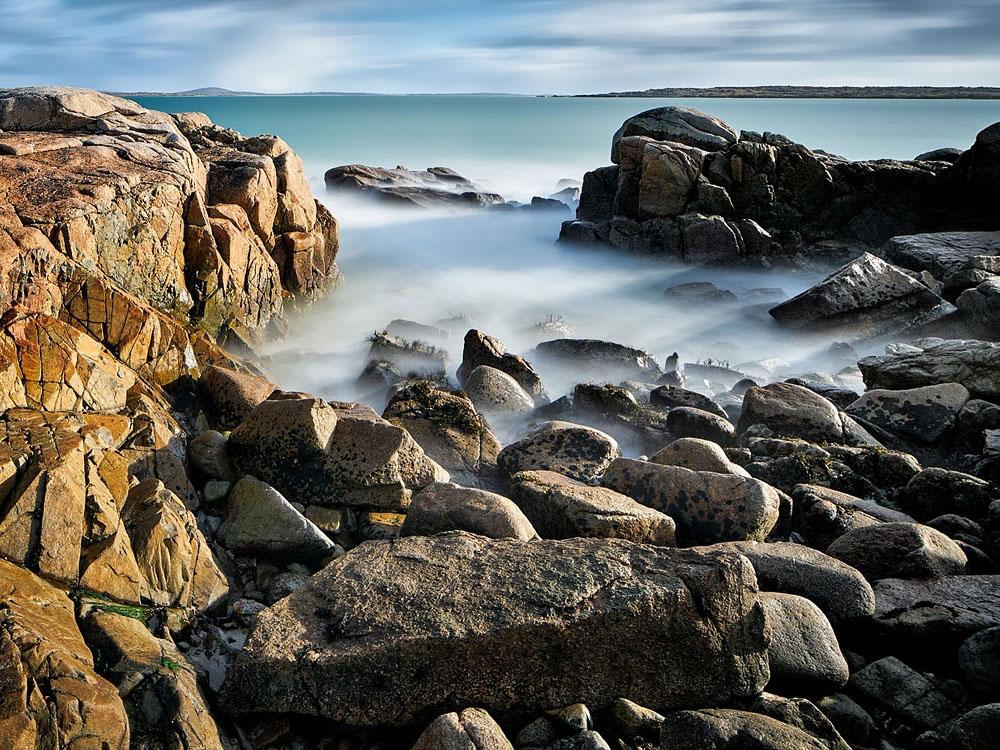 long exposure photo Roundstone beach connemara