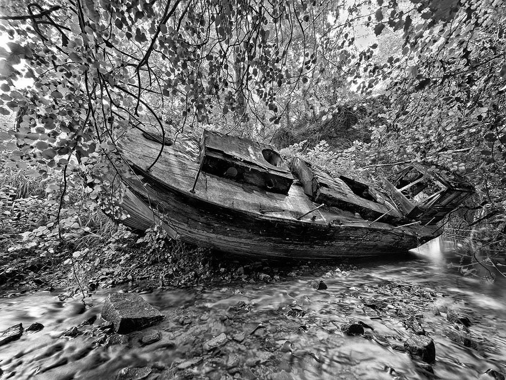 black white landscape photo boat Knocksink Wicklow