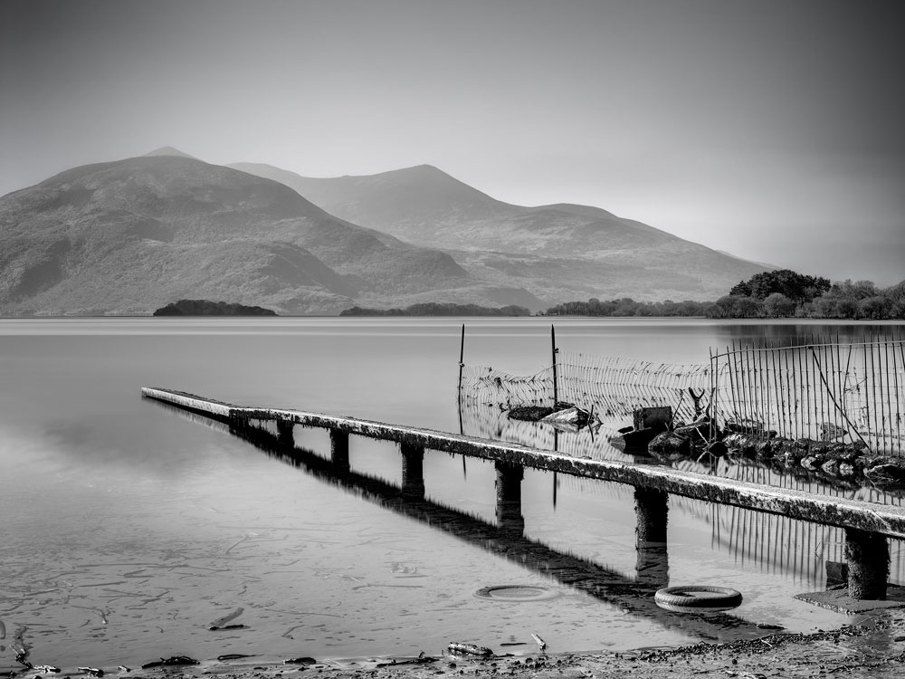 Lough Leane Killarney long exposure photo black and white landscape photo