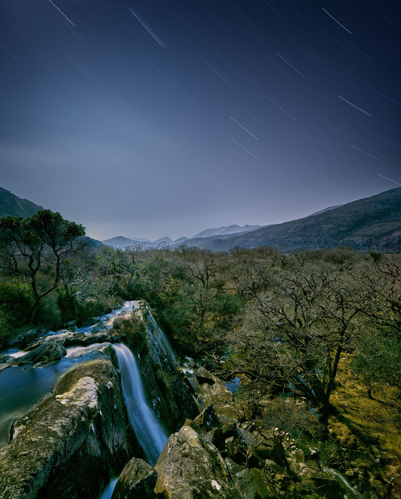 Tower Wood Star trails photo Crinnagh waterfall