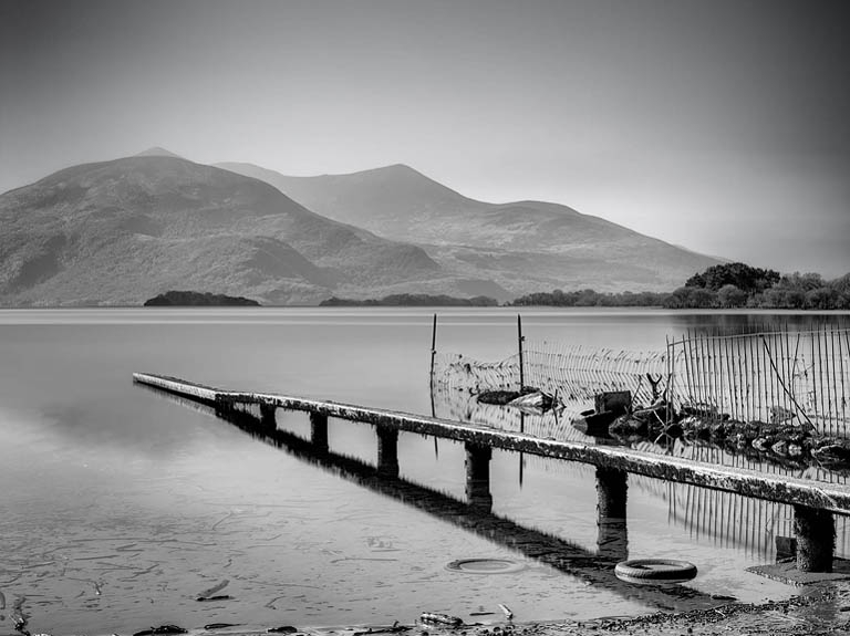 Lough-Leane-Killarney-long-exposure-photo-black-and-white-landscape-photo