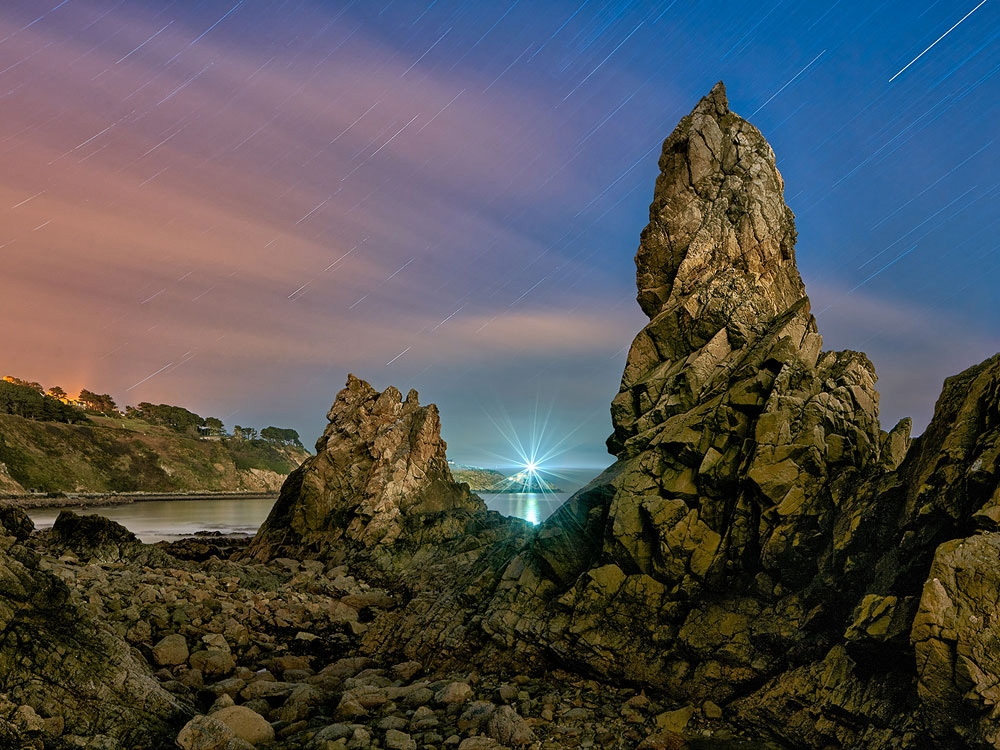 star trails night photo Baily Lighthouse howth