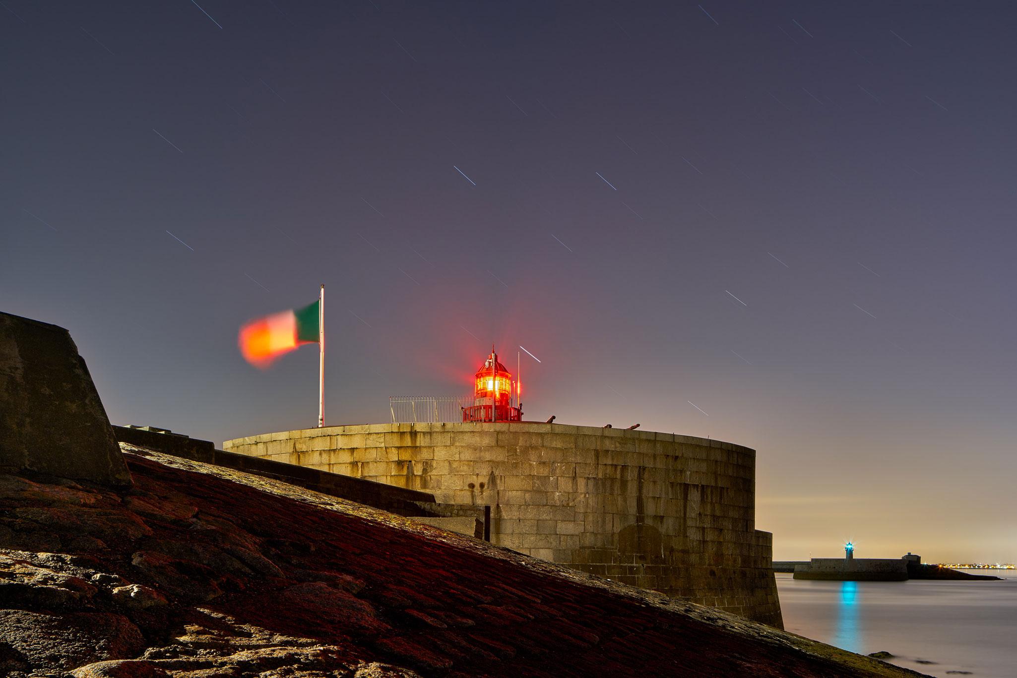 Dublin nightscape Dun Laoghaire Pier Lighthouse