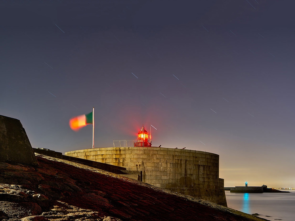 Dublin nightscape Dun Laoghaire Pier Lighthouse