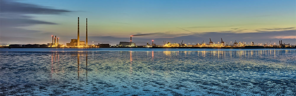 Bull island at Dusk with a view to dublin port