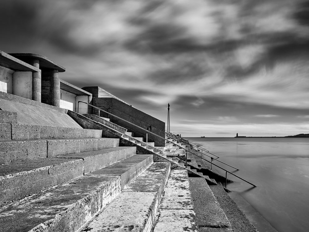 black and white Dublin seascape photo
